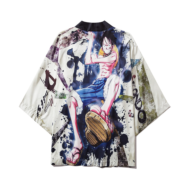 Hip Hop Casual Shirt Male Summer Open Shirt Printed Traditional Japanese Style Kimono For Men Harajuku Robe Gown Cardigan