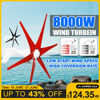 8000W 12V/24V 5 Blades Powerful Horizontal Wind Turbine Generator White Red Black Wind Blade Option Fit for Home Or Camping