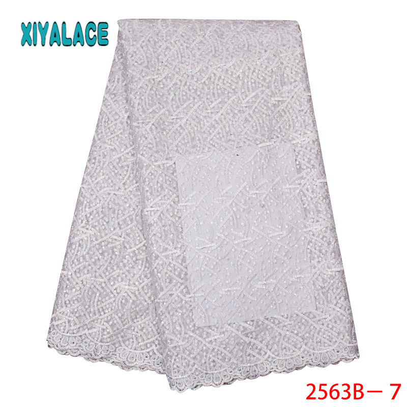 Sequins Lace Fabric Latest African Lace Fabric Hot Sale Nigerian Wedding Dress French Net Lace for Women KS2563B-7