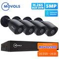 Movols 5MP AI система видеонаблюдения 8CH H.265 + DVR 4 шт 2592*1944 HD камера безопасности комплект для внутреннего/наружного ИК-системы видеонаблюдения
