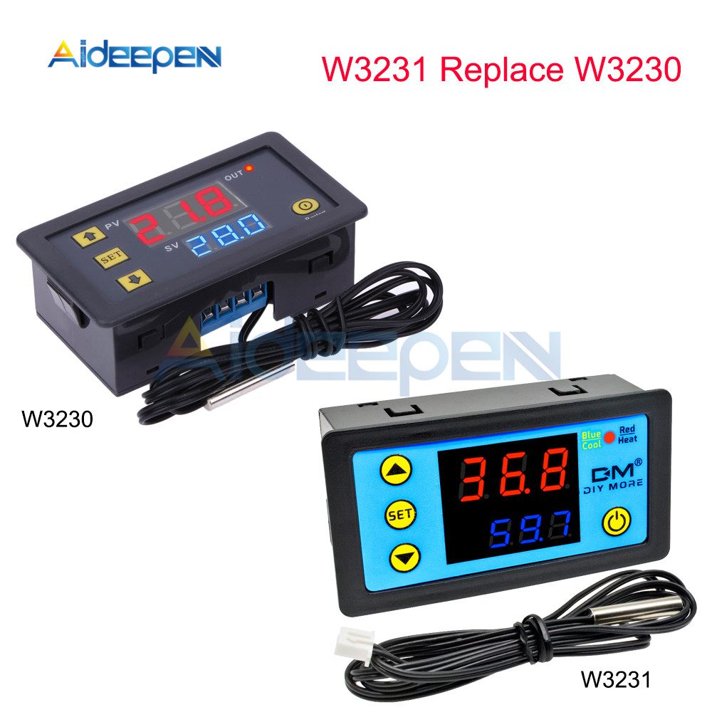 W3230 AC 110V 220V DC12V 24V Digital Thermostat Temperature Controller Regulator Heating Cooling Control Instruments LED Innrech Market.com