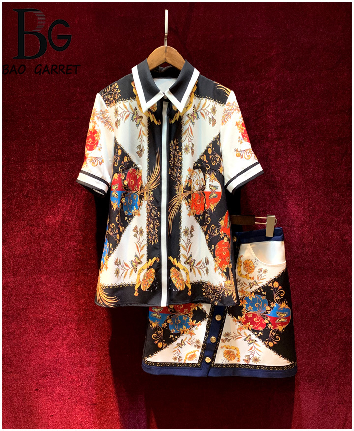 Baogarret Vintage luxury Skirt Suit Summer Womens Fashion Runway Designer Two Piece Set Female Twinset