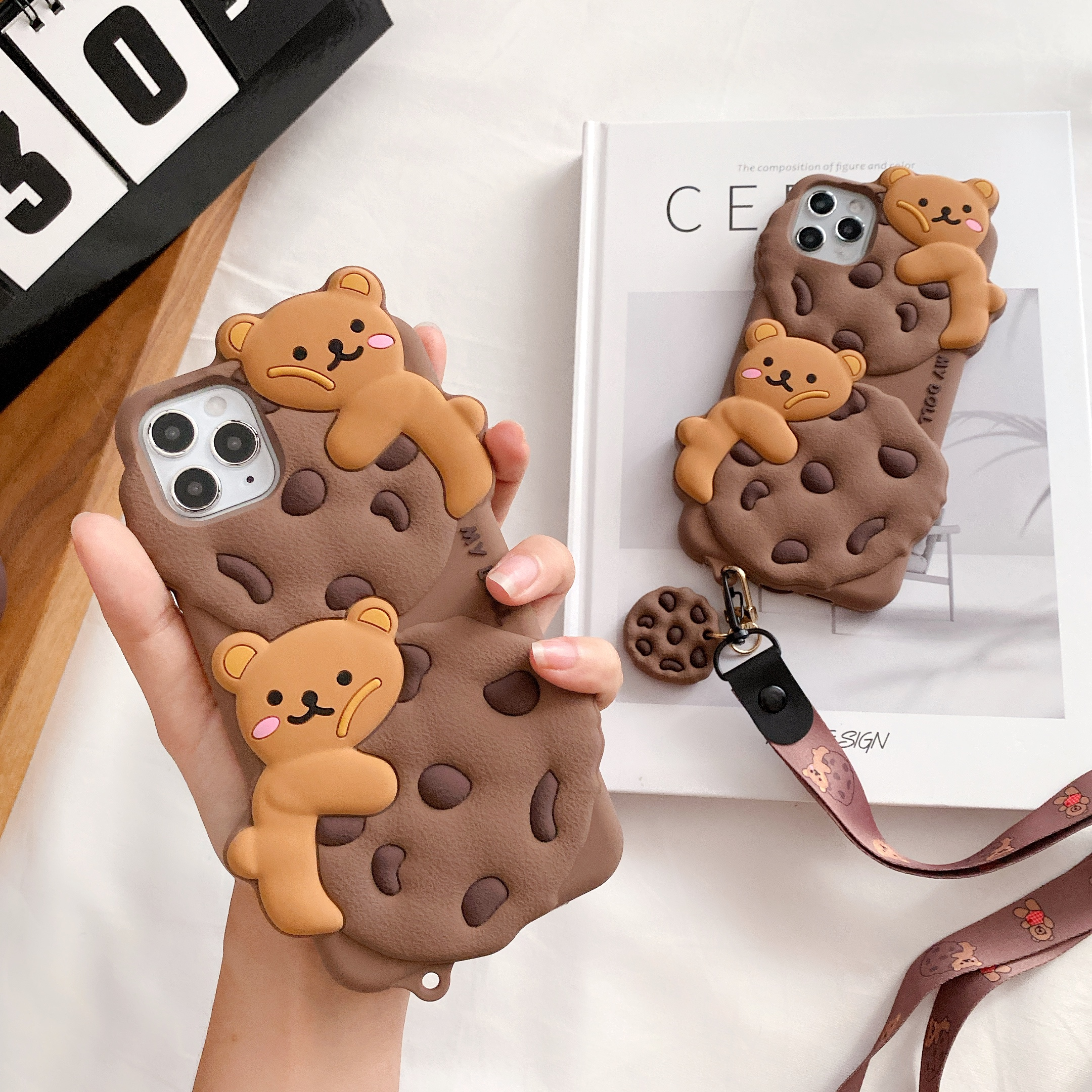 3D Cute Cartoon Chocolate Cookie Bear Case For Iphone 12 Mini 11 Pro XS Max XR X 7 8 Biscuit Soft Silicone Lanyard Rope Cover