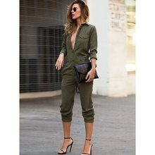 2019 Autumn Dark Green Sexy Jumpsuit Office Lady 's Cool Deep V-Neck Long Sleeve Jumpsuits цены