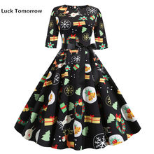 Retro Vintage Half Mouw Vrouwen Kerst Jurk Bell Print Sexy Party Dress Elegant Casual A-lijn Jurk Gewaad Rockabilly Pinup(China)