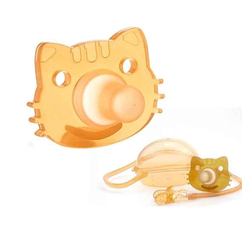 Bebé niños niño niña silicona gato chupete chupón pezón juguete Correa cadena Clip almacenamiento caja titular recién nacido regalos 23GD