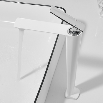 BAKALA White/Chrome TALL Bathroom Basin sink Faucet Cold and Hot Water Mixer Single Handle Bathroom Tap 9