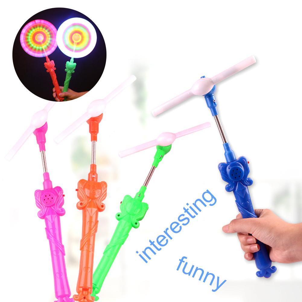 Rainbow LED Flashing Portable Spined Windmill Glows Musical Toy Party Supplies Gift For Children New
