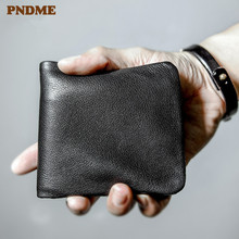 PNDME high quality soft genuine leather mens short wallet casual simple youth full cowhide thin credit card holder black purse