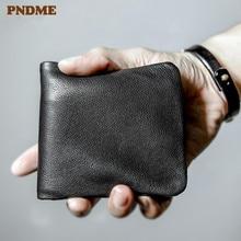 PNDME جودة عالية لينة جلد أصلي للرجال محفظة صغيرة عادية بسيطة الشباب كامل جلد البقر رقيقة حامل بطاقة الائتمان محفظة سوداء