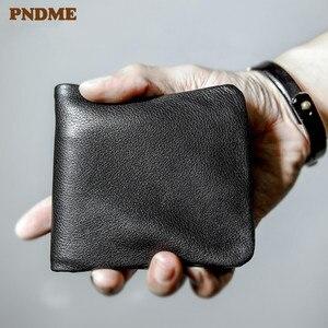 Image 1 - Pndme carteira masculina de couro legítimo, carteira masculina compacta feita em couro legítimo, macia e casual, simples, para jovens, feita em couro de vaca bolsa de mão