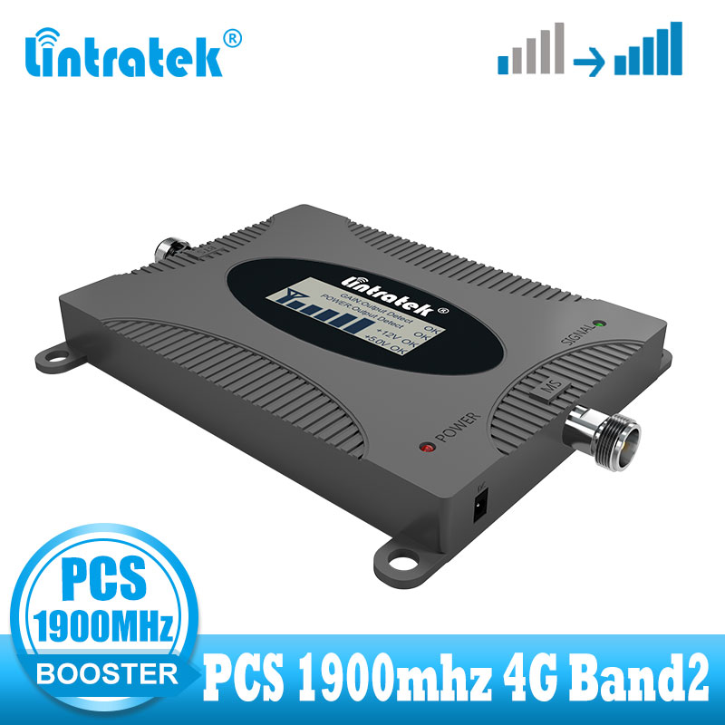 Lintratek 4g Signal Booster PCS 1900MHZ Band2 Cellular Signal Booster 4G Repeater Mobile PCS 1900 Communicaiton Amplifier