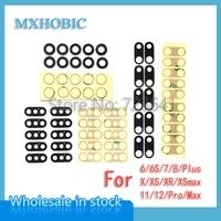 100 sätze/los Zurück Kamera Glas Objektiv für iPhone X XR XS 11 12 Pro Max Mini 6 6S 7 8 Plus Hinten Cam Abdeckung Ring mit 3M Aufkleber