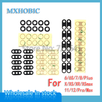 50 satz/los Original Zurück Kamera Glas Objektiv für iPhone X XR XS 11 12 Pro Max 6 6S 7 8 Plus Hinten Cam Abdeckung Ring mit 3M Aufkleber