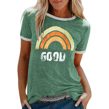 GOOD T shirt ladies Women Summer Letters rainbow Printing Short Sleeve Shirt round neck Casual Tunic Tops in stock