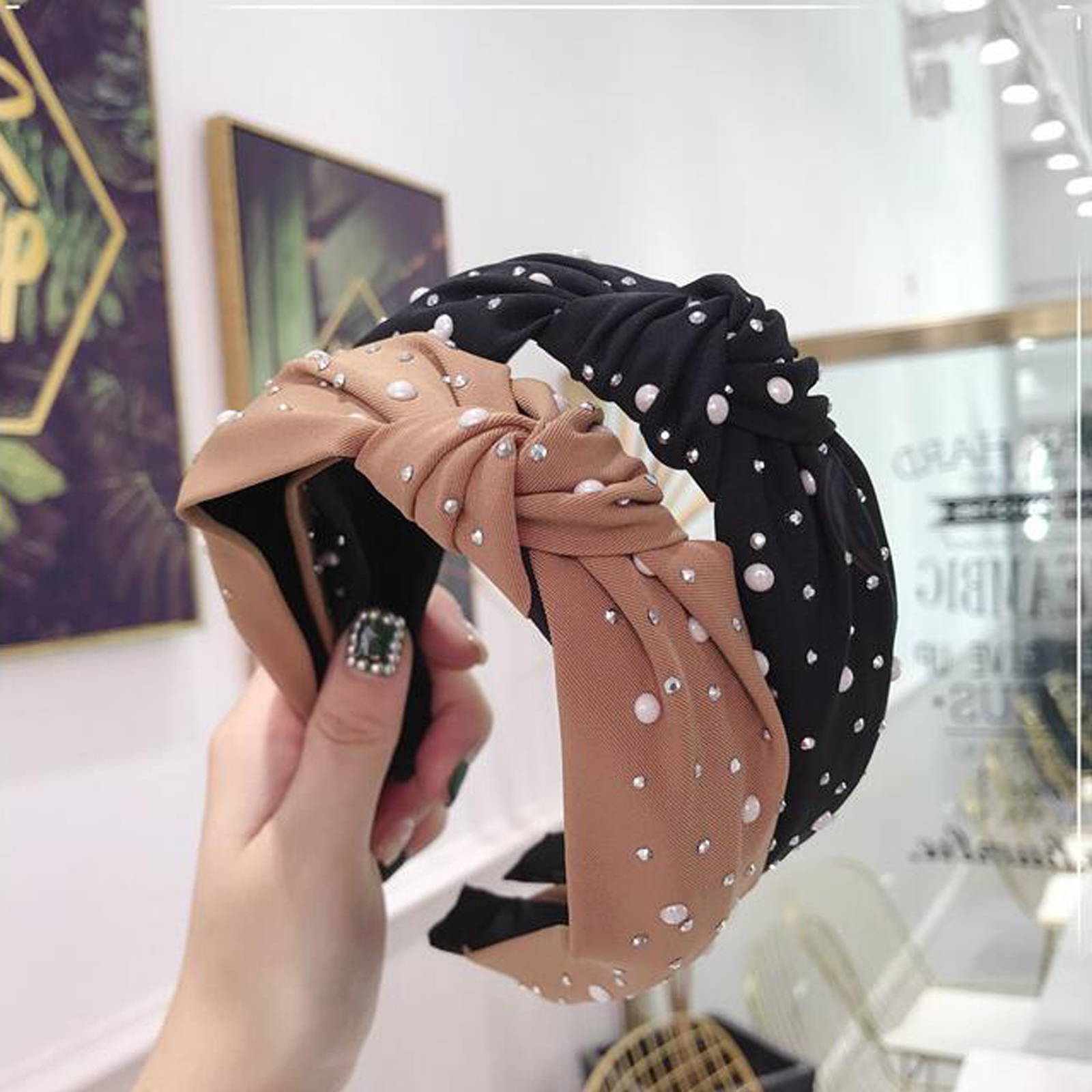 New 2019 Fashion Girls Headband Handmade Shining Pearls Rhinestone Ornament Hairband Women Middle Knot Turban Hair Accessories