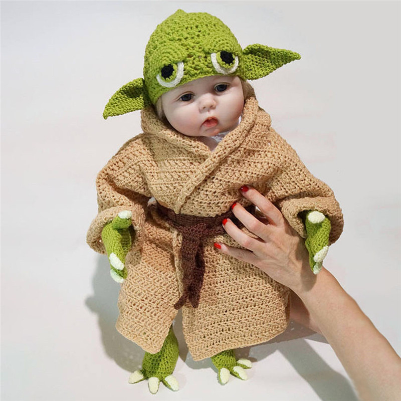 5-piece Suit Newborn Baby Yoda Photography Props Knitted Cartoon Clothing  Yoda Outfits Crochet Baby Yoda Costume