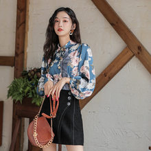 2020 frühling Herbst Frauen Fashion Long Sleeves Satin Casual Bluse Vintage Femme Revers Elegante Imitation Silk Bluse Print Shirts(China)