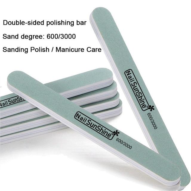 Brand 5Pcs/lot Sunshine Double Sides 600/3000 Grits Sponge Professional Shaped Nail Files Art Manicure Free Shipping