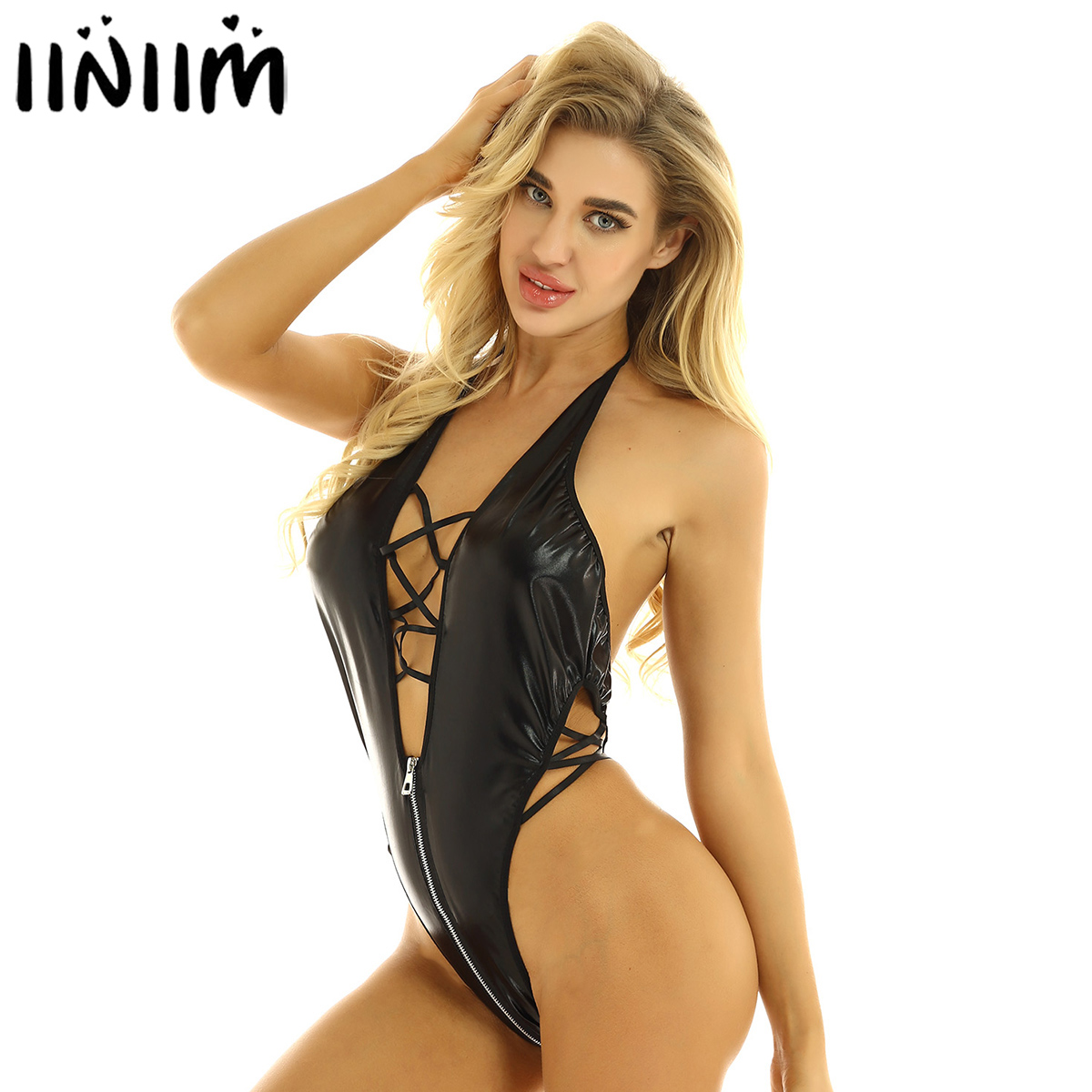 Women Black Leather Thong Body Sexy Halter Backless Lace Up Skinny Latex Bodysuit Nightclub Pole Dance Zip Open Crotch Jumpsuit