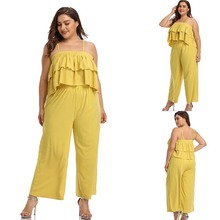 Summer plus size Yellow 2 Pieces set Women sexy Strapless Ruffles Crop Top And Wide Leg Pant Casual Holiday Suit