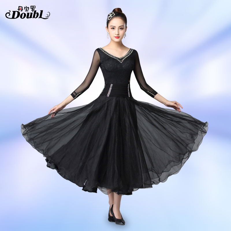 DOUBL Ballroom Dance Dresses Woman Waltz Costume For Dancing Long Sleeve Dress Standard Dance Competition Tango Practice Workout