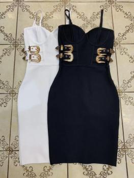 Women Summer Dress Sexy V Neck Backless Black White Bodycon Bandage Dress 2020 Designer Fashion Evening Party Dress Vestido 2