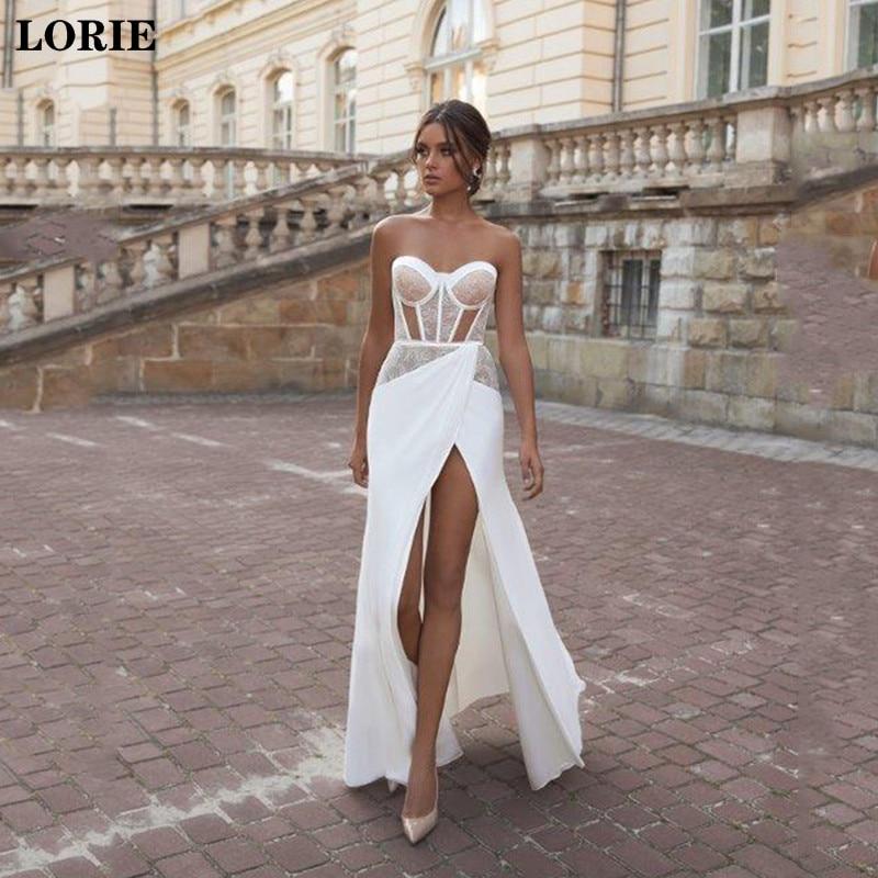 LORIE Beach Mermaid Wedding Dresses Sweetheart Neck Lace Bride Gown Sexy Side Split Satin Vestido De Novia 2020