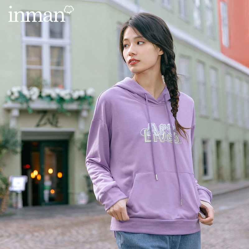 INMAN 2020 Spring New Arriavl Literary Drawstring Contrast Color Letter Embroidered All-match Hoodie