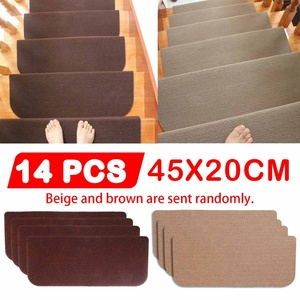 14pcs/Set Floor Rug Carpet for Stairway Anti-Slip Stair Mats Self-adhesive Step Mats Foot Pad Entrance Mat Safety Pads Mat