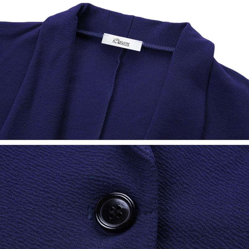 Image 3 - iClosam Women Classic Black Blazer Elegant Solid Color Slim  Jacket Suit 2019 New Fashion Long Sleeve Office Ladies BlazerBlazers