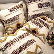 Moroccan style Cushion Cover Pillow Case Luxury Handmade Geometric Stripe Brown For Sofa  Bed Home Decorative Canvas 45x45cm