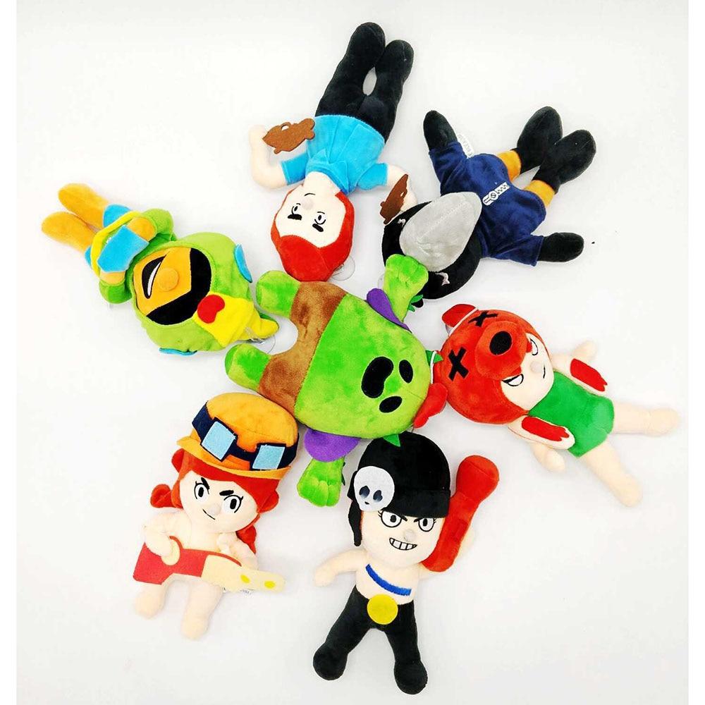 7pcs/lot Kawaii Cute Amine Brawl Game Cartoon Star Hero Spike Shelly Leon PRIMO MORTIS Brinquedo Plush Toy Christmas Gift