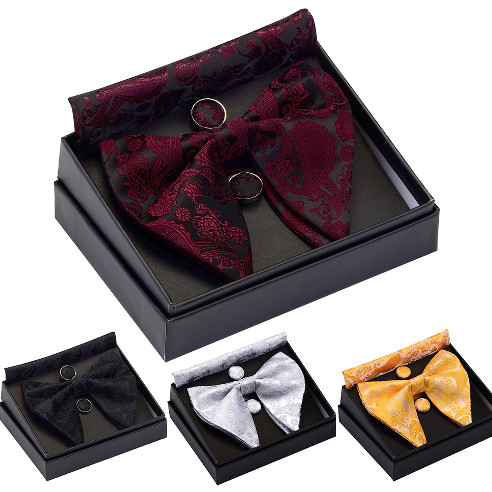 GUSLESON Paisley Big Bow Tie Men's Blue Red Yellow Bowtie Pocket Square Cufflinks Set With Gift Box Silk Wedding Necktie For Man