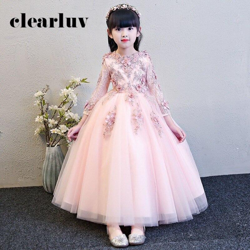 Flower Girl Dresses For Weddings Long Sleeves Pearls Elegant Princess Dress B013 2020 Pink Appliques Flowers Communion Dresses