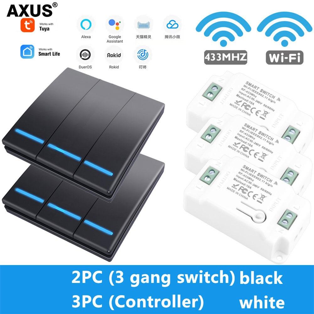 AXUS Wall Smart Tuya APP WiFi Switch Light 1/2/3 Gang Wireless RF 433Mhz pulsante modulo Timer relè fai da te Google Home Alexa