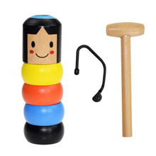 Event Tools Funny Wooden Magic Toys Little Wooden Man Who Can't Beat Interesting Party Holiday Toy Halloween Gift Home Supplies