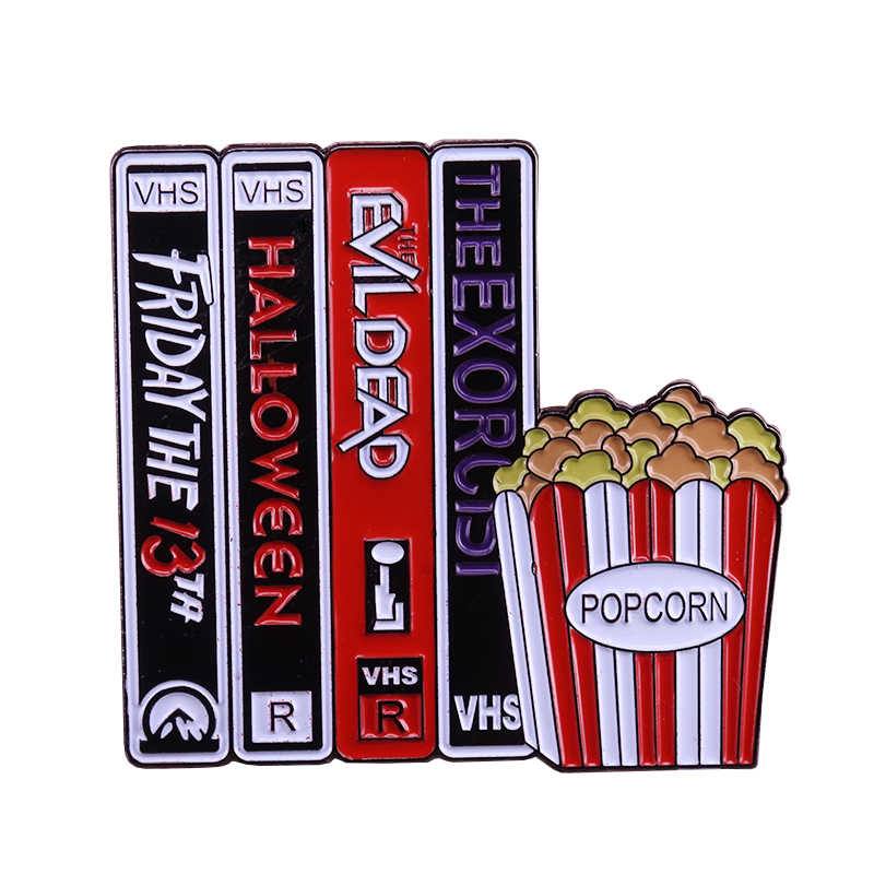 Vhs En Chill Popcorn Emaille Pin Horror Movie Fans Badge Halloween Gift Perfect Retro Toevoeging