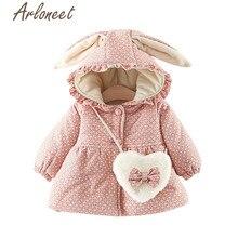 ARLONEET пальто теплое зимнее плотное пальто для маленьких девочек верхняя одежда с капюшоном и принтом кролика плащ, сумка через плечо, 2 предмета, Детское пальто Одежда для девочек