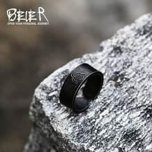 Beier viking amuleto rune palavras anel 316l aço inoxidável moda masculina e feminina valknut moda odin norse retro jóias