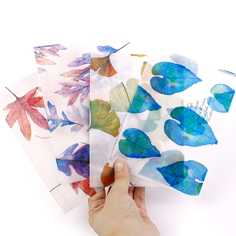 8 Pcs/lot Song Of Fallen Leaves Dull Polish Translucent Envelope Message Card Letter Stationary Storage Paper Gift Scrapbooking