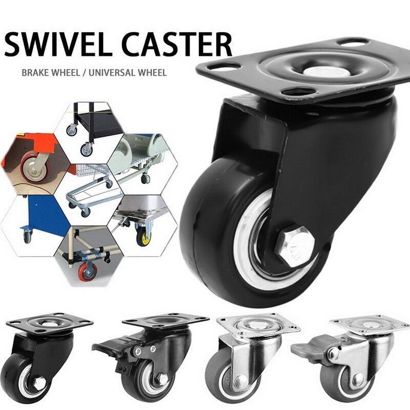 4 pçs/set rodízios móveis roda rodízios rodízios de borracha macia roda de rolo prata para plataforma cadeira do trole do agregado familiar aaccessories-0