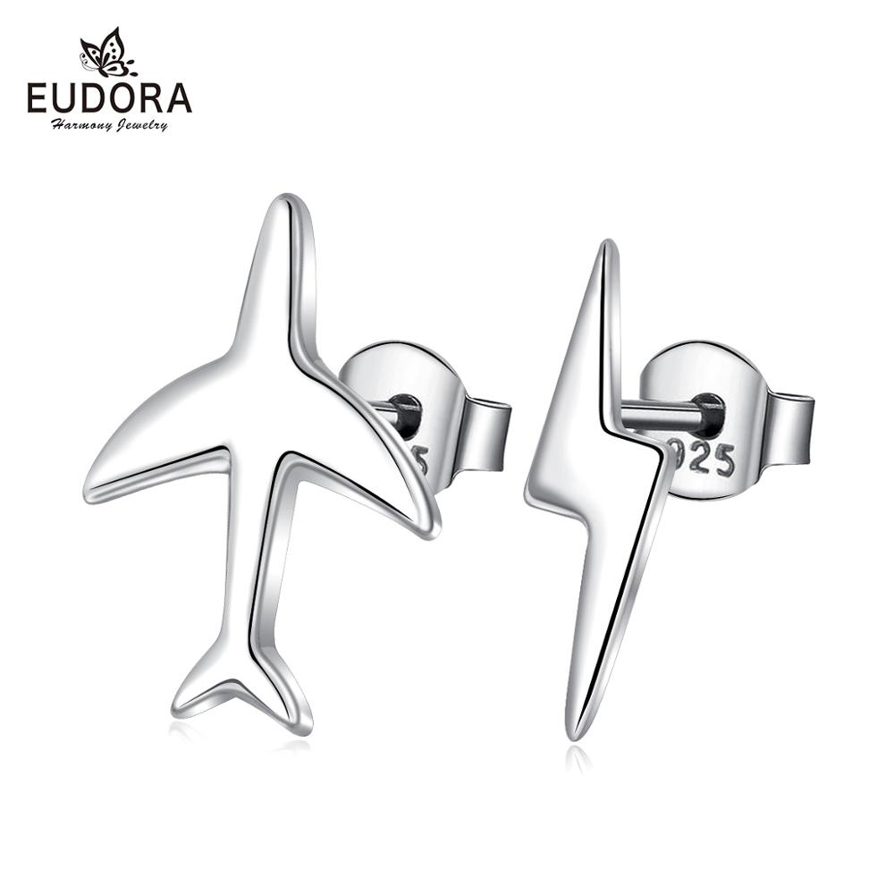 EUDORA 925 Sterling Silver Exquisite earring Mini Airplane lightning Aircraft Stud Earrings for Women Fashion Jewelry CYE110 image