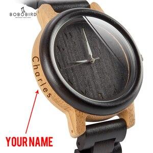 Image 1 - BOBO BIRD Couple Watch Wood Band Wristwatch Men reloj hombre Bamboo Case Name Engrave Grooms Gift in Box Dropshipping Customize