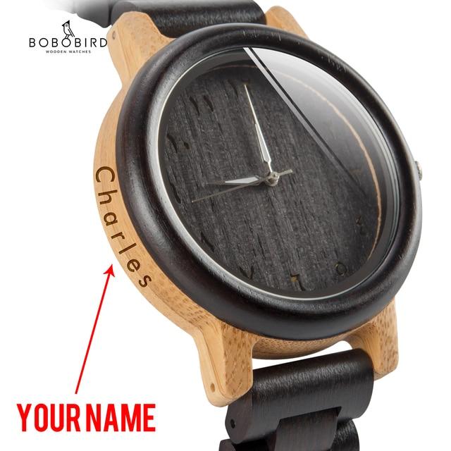 BOBO BIRD Couple Watch Wood Band Wristwatch Men reloj hombre Bamboo Case Name Engrave Grooms Gift in Box Dropshipping Customize