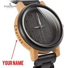 בובו ציפור זוג שעון עץ להקת שעוני יד גברים reloj hombre במבוק מקרה שם לחרוט חתנים מתנת בתיבה Dropshipping אישית