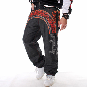 Image 2 - Sokotoo Mens hip hop jeans Cool personality embroidery loose pants Denim streetwear long trousers male