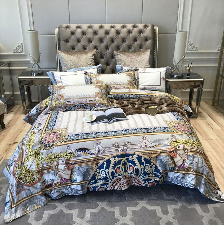European Florid Retro Bedding Set Adult,full Queen King 120s Cotton Vintage Double Home Textile Bedsheet Pillow Case Duvet Cover