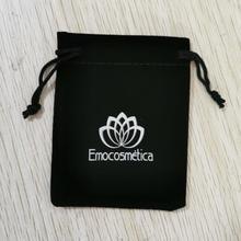 Custom-made Logo 500 pcs 7x9cm Drawstring Black Velvet Bags Pouches Hot Printed