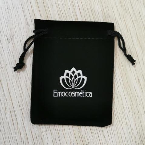 Feito sob Encomenda Impresso com Logotipo de Prata Através do Transporte Logotipo Pces Cordão Preto Veludo Bolsas Malotes Quente Rápido Fedex ip 500 7x9cm